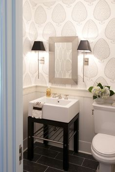 Nightingale Design: Contemporary powder room with Katie Ridder Leaf Wallpaper paired with tongue and groove ...