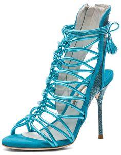 Sophia Webster Lacey Tie Up Heels Turquoise Metallic