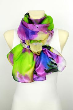Unique Gift For Women  Bright Silk Scarf  Christmas by LocoTrends