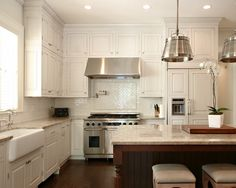Cream Cabinet With Glaze Kitchen Design, Pictures, Remodel, Decor and Ideas - page 5
