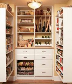organized-pantries; love the clever use of shelves on side to create a space
