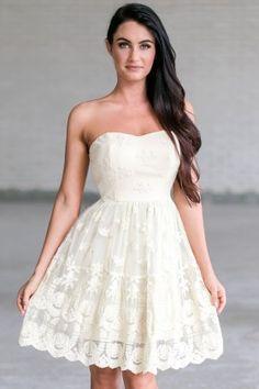 Cream Embroidered A-Line Dress, Cute Rehearsal Dinner Dress