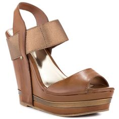 Unlisted - Hold Tight BN  Price: $80  The Hold Tight will complete your warm weather wardrobe. Unlisted introduced a brown synthetic upper with elastic straps and peep toe. A 5 1/2 inch wedge and double stacked 1 1/2 inch platform completes this versatile look.