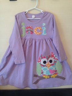 Owl Dress Toddler Dress Personalized You by roundthebendagain, $34.00