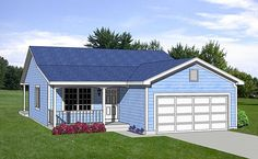 House Plan 94471 - Traditional , House Plan with 1216 Sq Ft, 3 Bed, 2 Bath, 2 Car Garage Three Bedroom House Plan, Cottage Style House Plans, Beach House Plans, Garage House Plans, Country House Plans, New House Plans, Small House Plans, Car Garage, Garage Loft