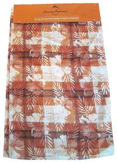 "Tommy Bahama Hibiscus Plaid Table Runner 14"" x 70"" Hawaiian Flower Rust Browns #TommyBahama"
