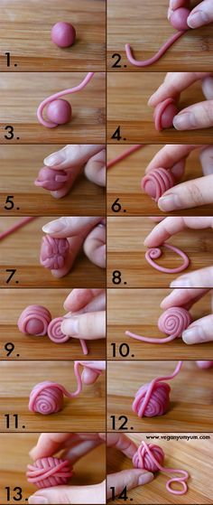 Free #knitting tutorial! Cute ball of yarn made out of Marzipan. - ?fimo for stitch markers