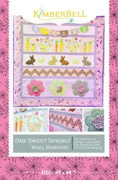 One Sweet Spring! Spring Quilt Wall Hanging | YouCanMakeThis.com paper piecing to appliqué