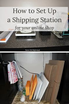 How to Set Up a Shipping Station-here are some ideas for setting up a shipping station for your online shop! farmgirlreformed.com Office Organization At Work, Diy Organization, Organizing, Man Office, Office Inspo, Thank You Labels, Shipping Supplies, Bubble Envelopes, Home Office Design