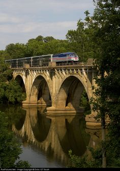 Southbound VRE Train P303 was crossing the Rappahannock River at Fredericksburg, VA on July 2, 2012 with MP36PH-3C No. V58.