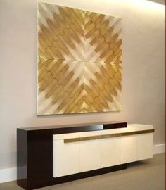 Custom designed credenza with a large abstract art piece - creative edginess at it's finest. Stunning. (re-pinned photo from Herve Van Der Straeten)