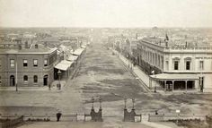 Bourke St in Melbourne  taken from Parliament House in 1870.