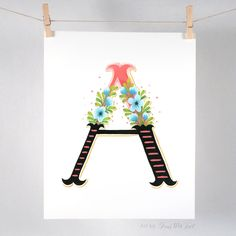 High Quality Floral Alphabet - A - Art Print of Original Gouache Painting. This is a high quality and archival print of my original gouache painting. It is printed on a heavy weight Canson 100% cotton