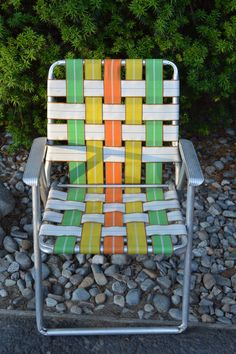 Vintage Webbed Lawn Chair, Aluminum Webbed Lawn Chair, Camping Equipment,  Home Decor