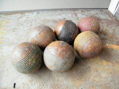 Croquet Balls /  Set of Six Vintage Woodde  Art by assemblage333, $36.00