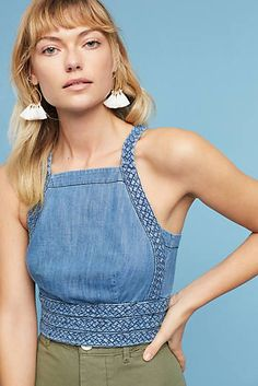 Braided Cropped Halter Top, Blue