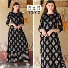 Kurta Sets Elite Rayon Women's Kurta Set Fabric: Kurti- Rayon Palazzo- Rayon Sleeves: 3/4 Sleeves Are Included Size: Kurti- L- 40 in X- 42 in Palazzo - Up To 28 in To 36 in (Free Size)   Length: Kurti - Up To 47 in Palazzo - Up To 37 in Type: Stitched Description: It Has 1 Piece Of Women's Kurti & 1 Piece Of 1 Piece Of Women's Palazzo Work: Printed Country of Origin: India Sizes Available: L, XL, XXL   Catalog Rating: ★4 (461)  Catalog Name: Athena Elegant Rayon Women's Kurta Sets Vol 1 CatalogID_81289 C74-SC1003 Code: 674-717742-2331