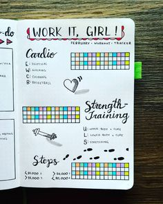 February 2018 - Work It, Girl!    I tried a different spread this month to track my physical activity. The more I move, the better I eat! So I wanted a place to help motivate me to fulfill my workout goals! The top boxes track my cardio, the middle shows my strength-training, and the bottom tracks my steps each day. Here's to a great month!