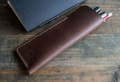 Brutal Pen Pouch/Personalized Monogram Pen Pouch/For Him Gift/Men Gift/Fathers Gift/Pencil Case/Leather Pen Case/Pen Sleeve , Gift by PodkovaShop on Etsy