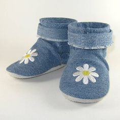 Soft Sole Daisies Eco Friendly Denim Baby Boots Shoes by KaBoogie, $38.00