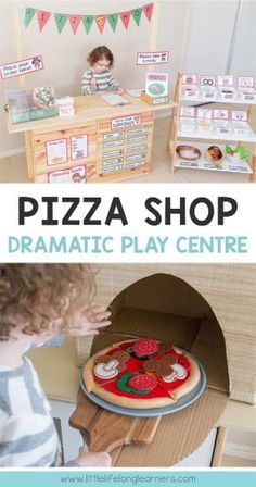Summer Bulletin Boards For Daycare Discover Pizza Dramatic Play Set up an pizza shop for your preschool and kindergarten children Dramatic Play Themes, Dramatic Play Area, Dramatic Play Centers, Preschool Dramatic Play, Kids Role Play, Pretend Play, Children Play, Pizza Role Play, Role Play Shop