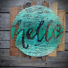 hello String Art - Typography in a Circle - Hand lettering - Mint Ombre - String & Nail - Free Shipping!