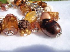 Fall Sparkly Brown Shell Bracelet by Spasojevich on Etsy, $14.99