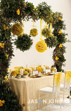 Lemon colors with natural greens for showers, teas, weddings and... well, every occasion!