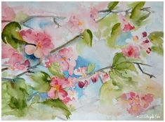 apple blossom sketch by Angela Fehr Gorgeous Watercolour. calming and lovely. Gold Watercolor, Watercolor Flowers, Watercolor Paintings, Sketchbook Challenge, Color Magic, Art Society, Spring Blossom, Art Studies, Art Tips