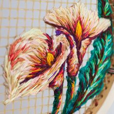 Details of Intebe (Arum Lily in isiXhosa) . #embroidery #floral #arimlily #lily…