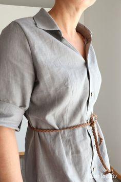 #nähen  Blusenkleid aus Leinen Shirt Dress, Shirts, Dresses, Fashion, Dress, Braided Leather, Shirt Collars, Linen Fabric, Long Sleeve