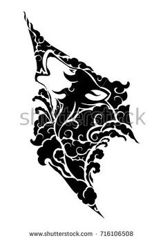mystical wolf head with cloud design with tribal Asia style vector with withe isolated background