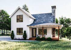 Modern Farmhouse Cabin Plan | Littleton Cabin House Plans, Cabin Floor Plans, Modern House Plans, Small House Plans, Home Design, Cabin Design, Design Websites, White Siding, Farmhouse Architecture