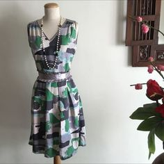 Abstract Print Pleated Dress on Carousell
