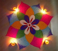 This post is the collection of Rangoli designs created by real people for real celebration. Check Simple and Experts Rangoli designs for festival like Diwali.