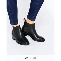 ASOS ABOUT TIME Wide Fit Leather Chelsea Boots (210 PEN) ❤ liked on Polyvore featuring shoes, boots, ankle booties, black, black chelsea ankle boots, leather chelsea boots, beatle boots, black booties and low heel black booties