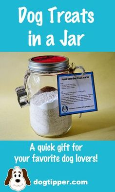 A super easy gift to make for dog lovers: dog treats in a jar. Post includes a printable recipe card! #BlogPawsDIY
