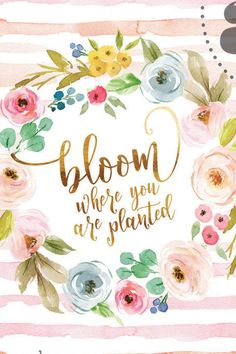 Bloom where you are planted in fresh watercolor wash with floral wreath and background stripe detail Motivational Quotes For Women, Positive Quotes, Inspirational Quotes, Mothers Day Quotes, Happy Mothers Day, Watercolor Quote, Watercolor Lettering, Watercolor Wallpaper, Pastel Wallpaper