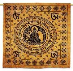 Beautiful Indian Screen Printed Cotton Buddha Printed Tapestry or Bed Cover in Twin Size.  ..this is img