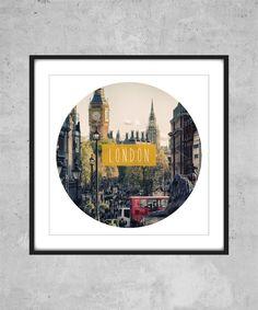 London Print  england city world travel text by AugustPrints