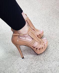 """e3c4f4a4c Week Shoes on Instagram: """"❤Linda e Confortável...😍 Sandália salto alto  meia pata 12cm, NUDE com solado vermelho ______👠Compre pelo nosso site:…"""""""