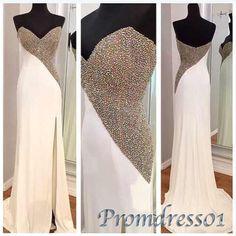 #promdress01 prom dresses, elegant white strapless beaded side slit sweetheart neckline strapless long prom dress for teens, ball gown, occasion dress #prom2k15 -> http://www.promdress01.com/#!product/prd1/4220164471/white-strapless-beaded-slit-sweetheart-prom-dress
