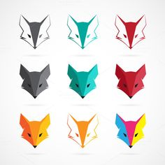 Vector image of an fox face design by yod67 on Creative Market