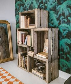 recycle apple crate, shelf of five wooden crates to store books and accessories deco, vintage recup furniture, exotic wallpaper, baroque mirror Source by archzinefr Small Furniture, Home Furniture, Apple Crates, Jungle Room, Cafe Wall, Family Wall Decor, Crate Storage, Wood Crates, Apartment Interior