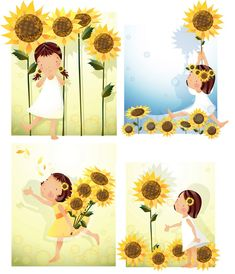 Elements of girl sunflower style Vector