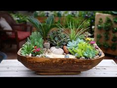 Antique Dough Bowl Turned Succulent Planter - YouTube
