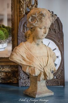 Antique FRENCH Art Nouveau Bust Josephine door edithandevelyn
