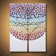 Flower Tree Painting Chakra Blossom by ImagineDeepModernArt, $195.00