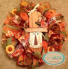 Fall Scarecrow Deco Mesh Wreath by Jennifer Boyd Designs.  www.facebook.com/JenniferBoydDesigns www.etsy.com/shop/JenniferBoydDesigns