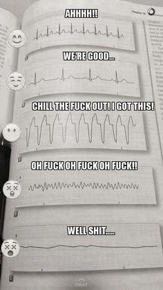 tutte le volte viene un infarto a me quando leggo un ecg così Ems Humor, Medical Humor, Nurse Humor, Ecards Humor, Nursing School Humor, Nursing School Notes, Funny Nursing, Nursing Schools, Medical School